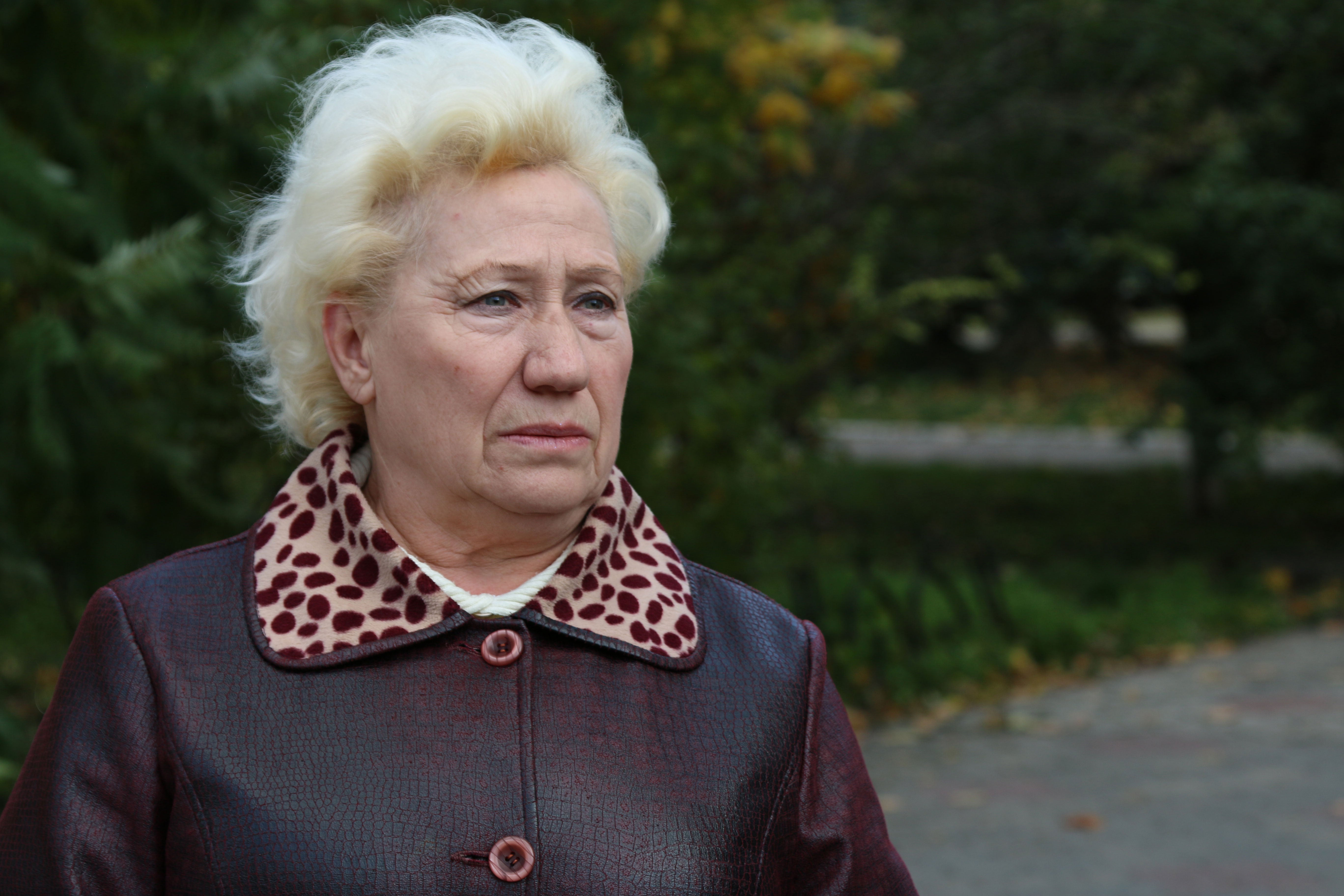 Vira Ivanenko, 65, and her husband Valeriy, 64, fled their home in Pervomaysk with their daughter and granddaughter after artillery damaged their apartment in the summer of 2015.