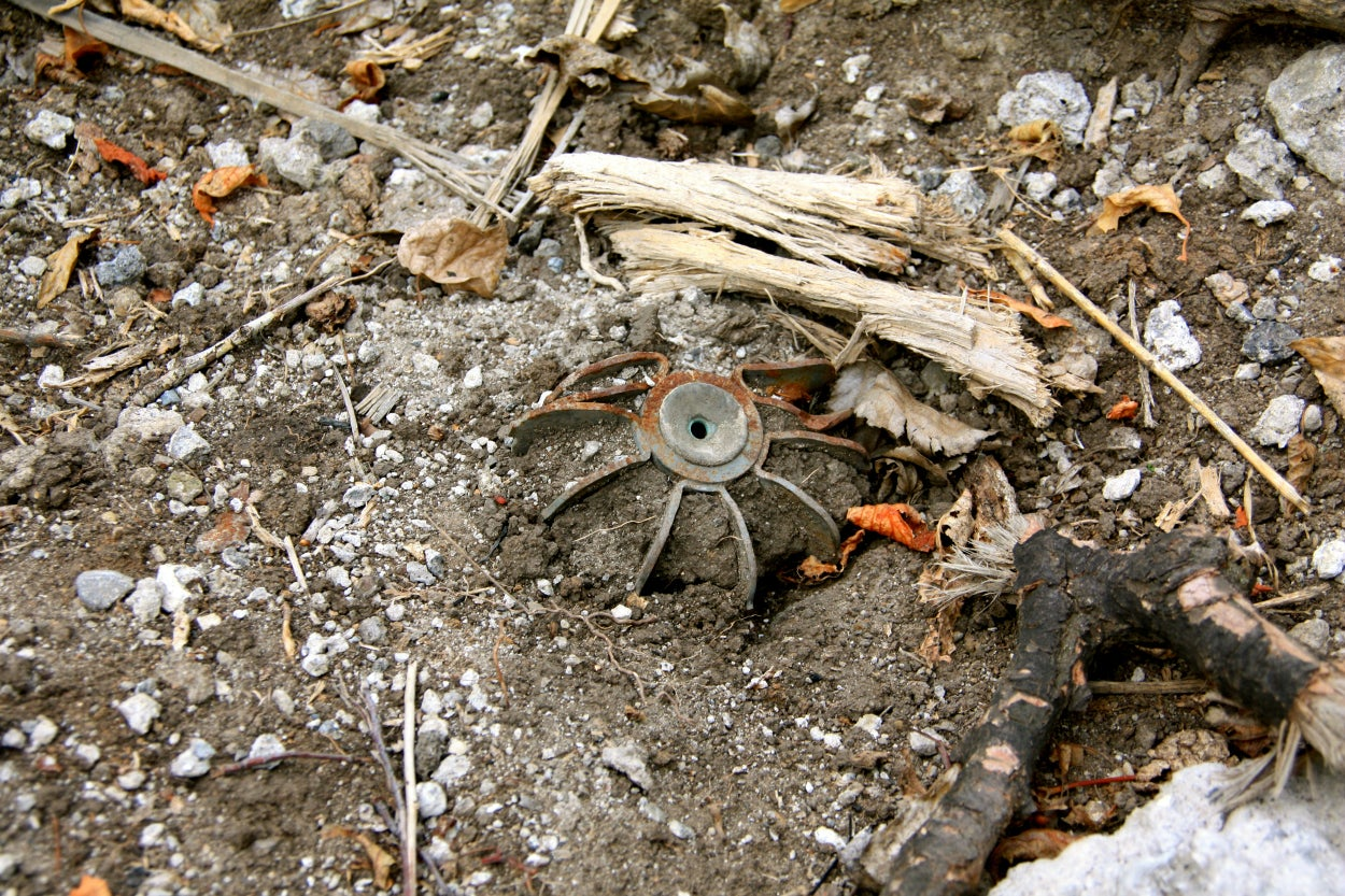 An unexploded mortar at a battlefield in eastern Ukraine.