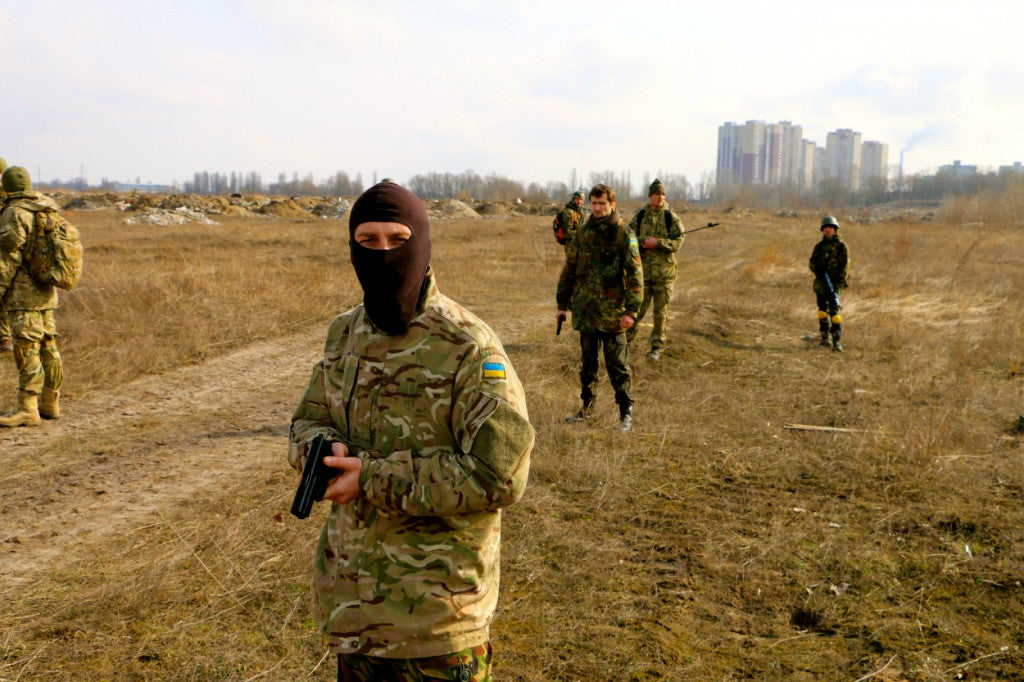 Ukrainian civilian volunteer soldiers training outside Kyiv. (Photo: Nolan Peterson/The Daily Signal)