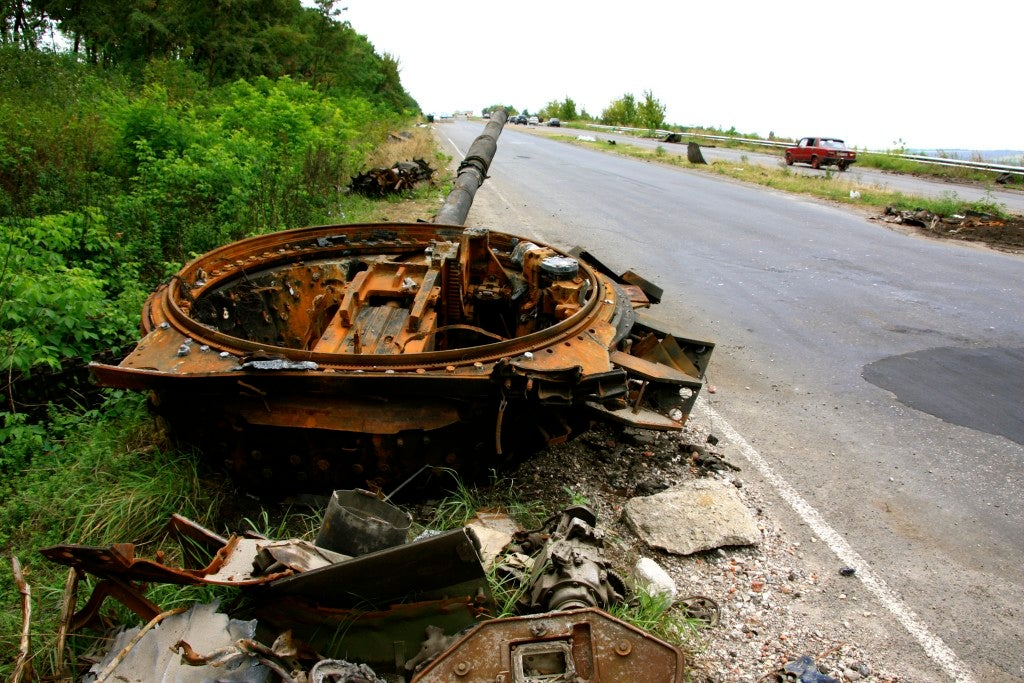 A tank destroyed by a landmine outside Slavyansk. (Photo: Nolan Peterson/The Daily Signal)
