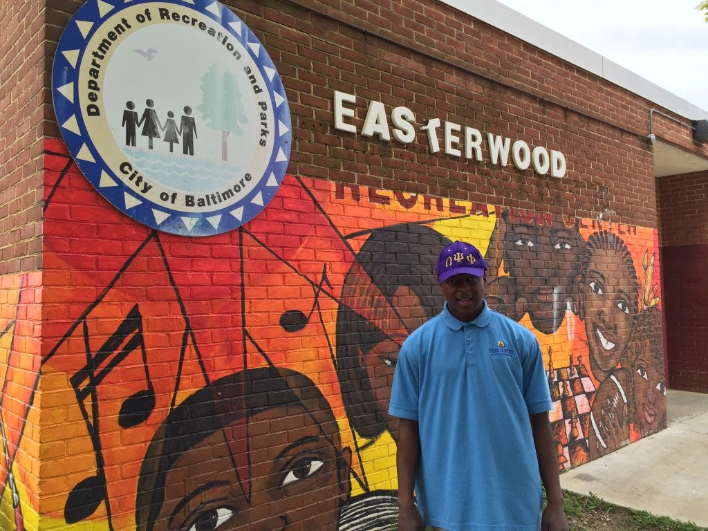 Eric Simpkins is a volunteer at Easterwood Park Recreation Center in West Baltimore, near where Freddie Gray grew up. (Photo: Josh Siegel/The Daily Signal)