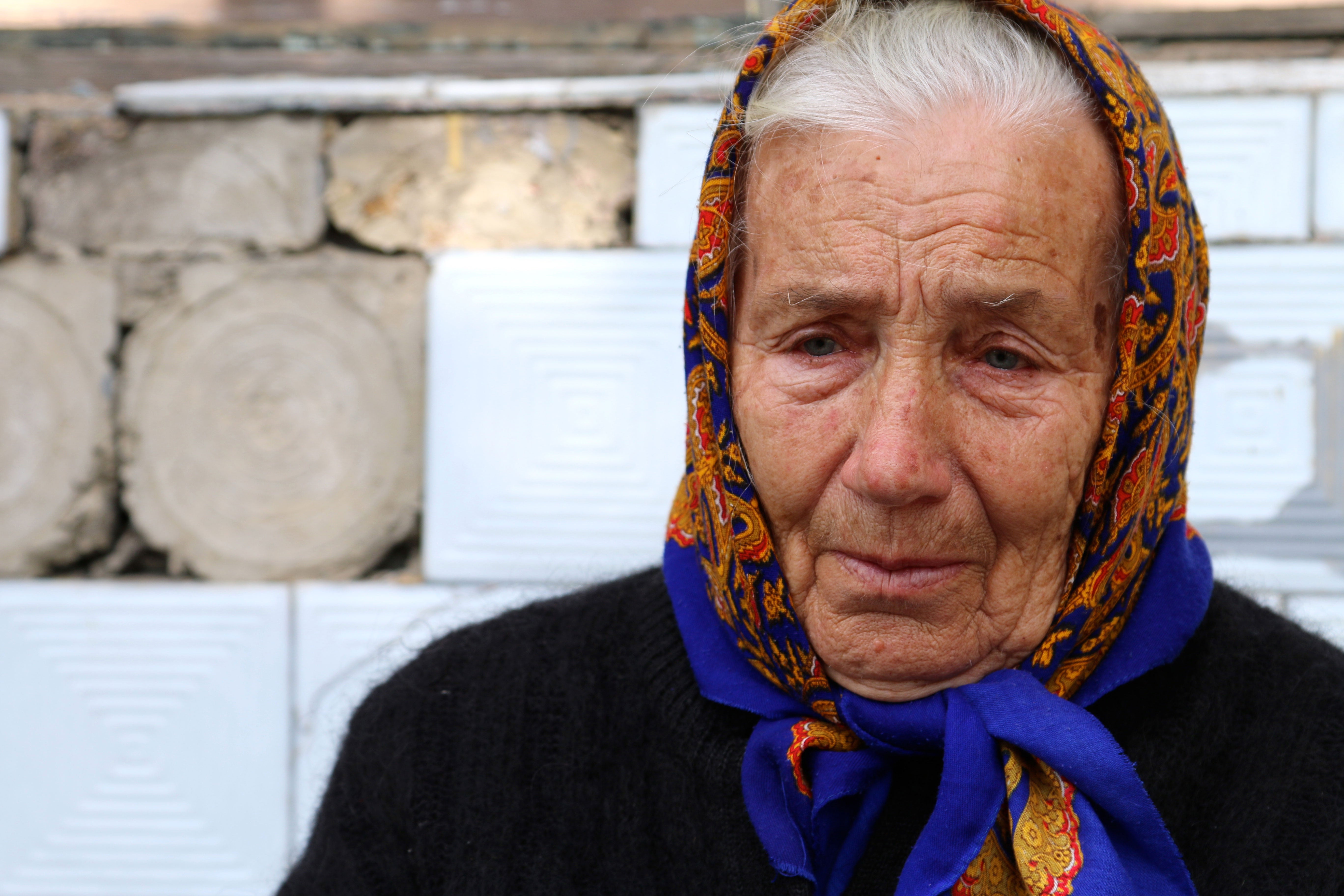 "Alexandra, 83, fled her home in Marinka when the shelling became ""too scary."" (Photos: Nolan Peterson/The Daily Signal)"
