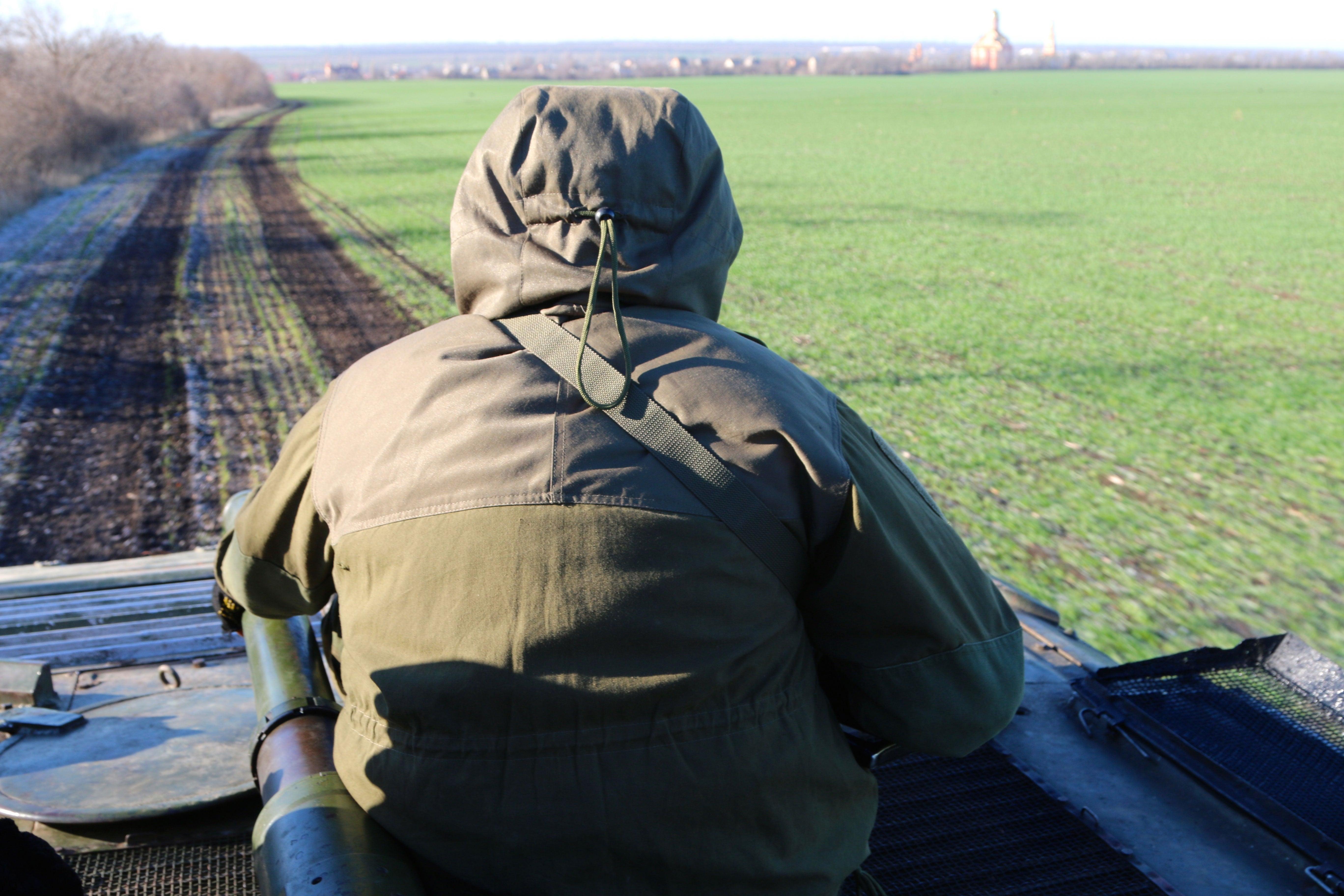 Ukrainian soldiers on patrol in Marinka.