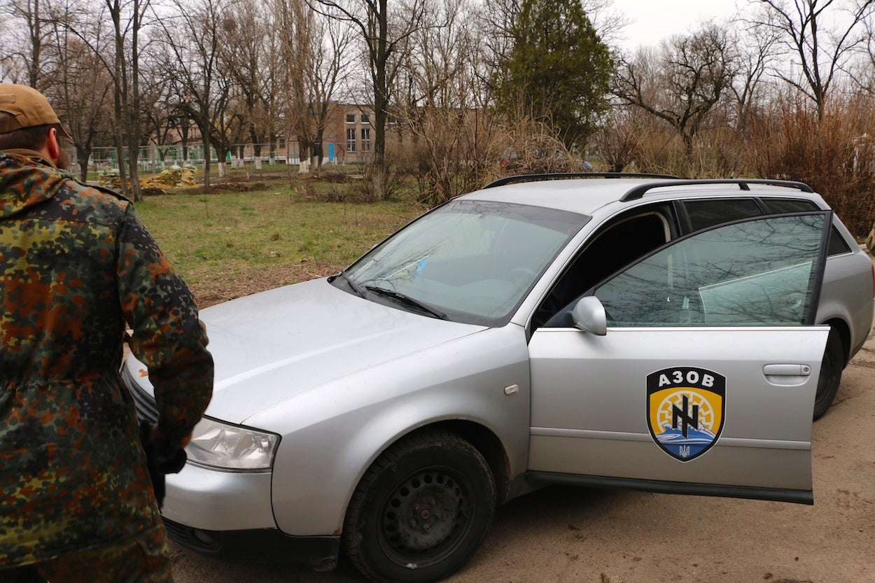 The Azov Battalion unit symbol, which some claim closely resembles the Nazi Wolfsangel. (Photo: Nolan Peterson/The Daily Signal)