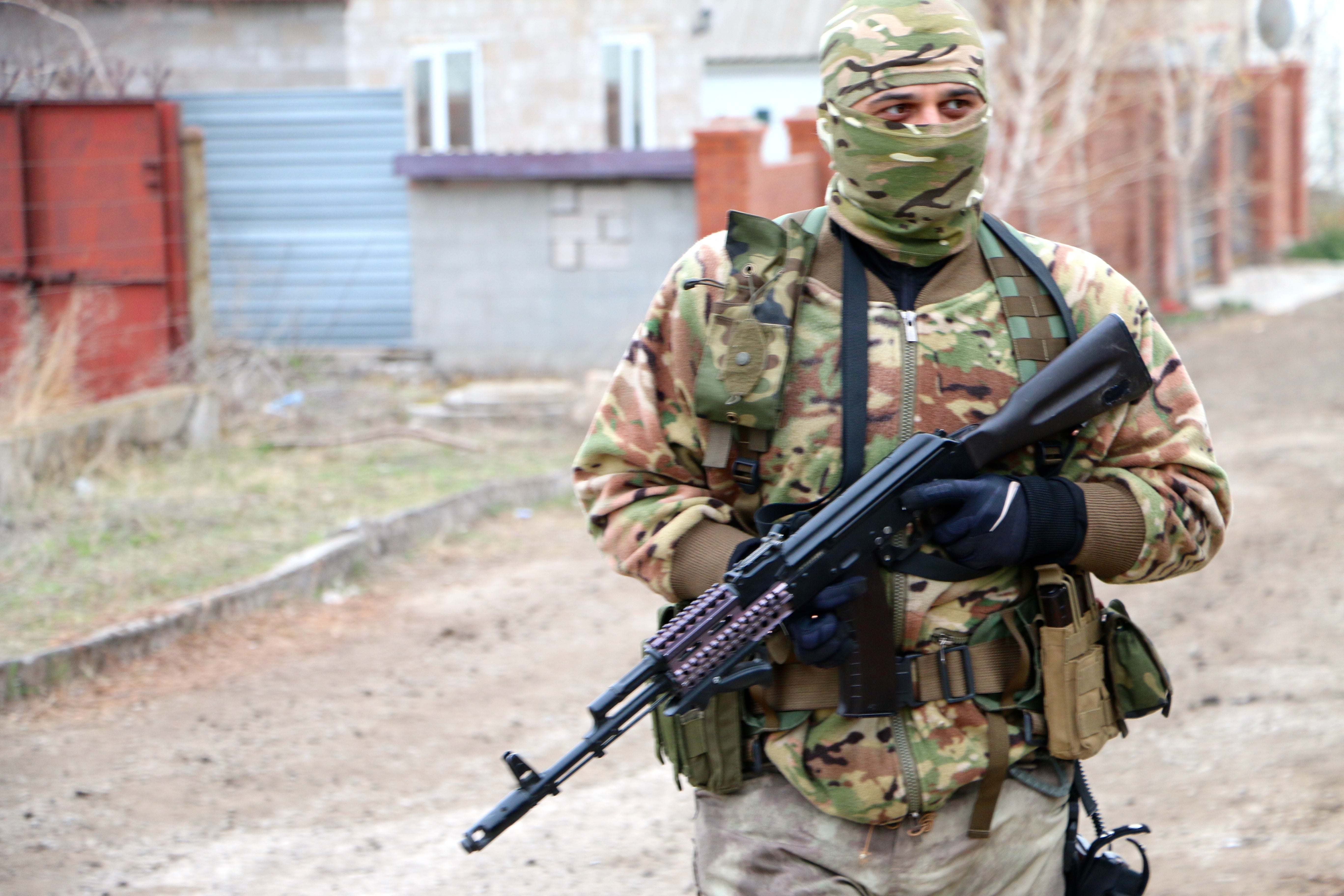 An Azov Regiment soldier near the front lines in Berdyans'ke. (Photo: Nolan Peterson/The Daily Signal)