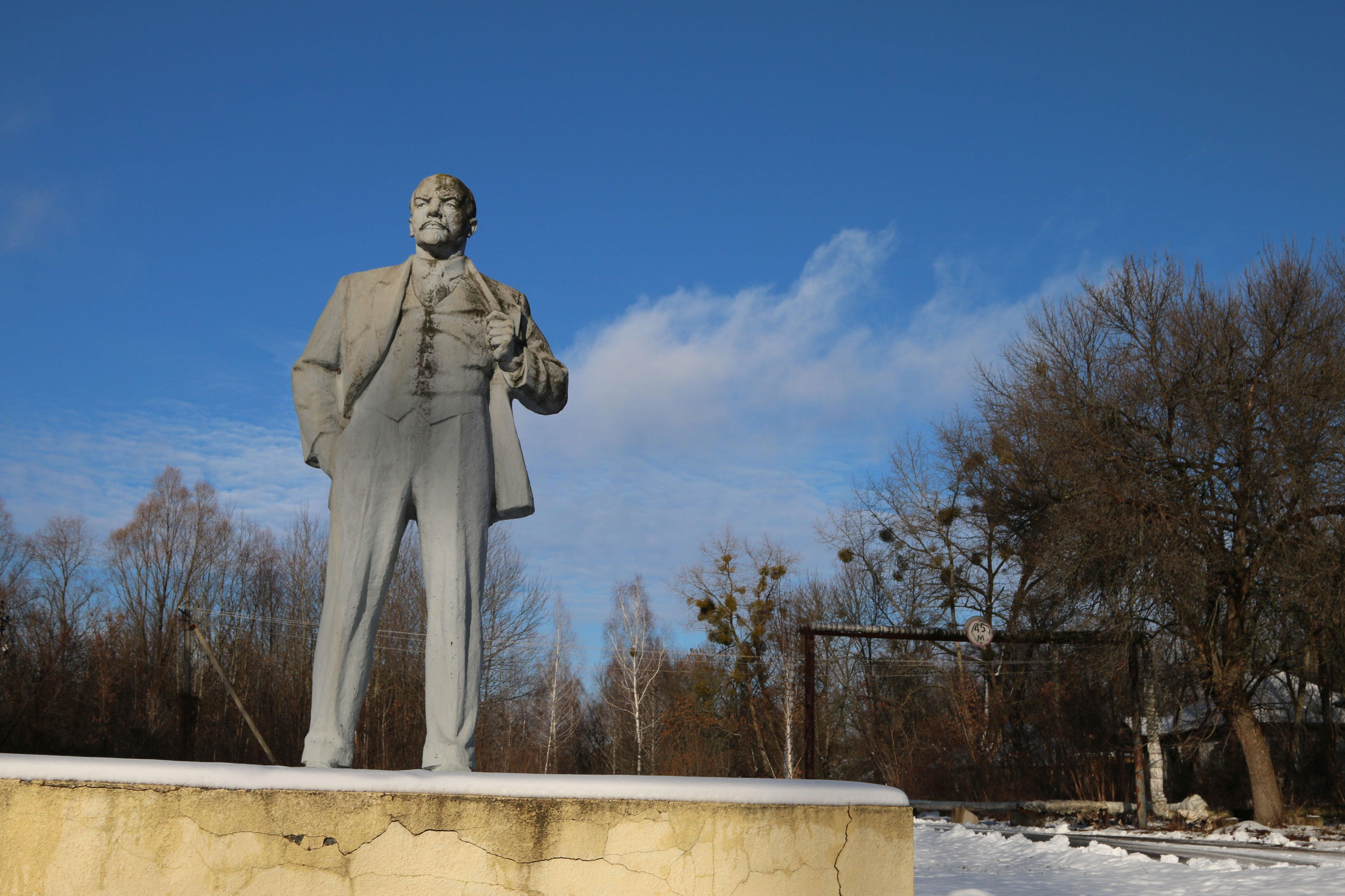 A statue of Vladimir Lenin in Chernobyl, Ukraine.