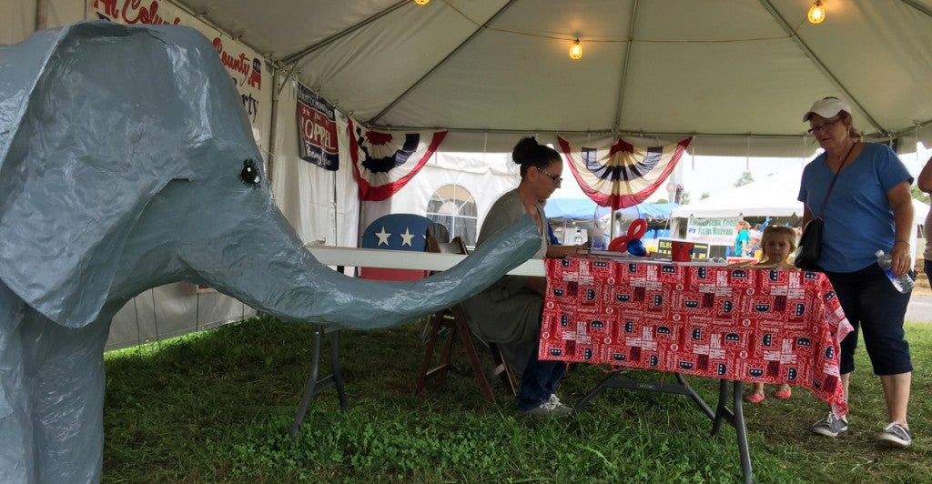 Theresa Bosel at the Columbiana County Republican Party booth. (Photo: Rob Bluey/The Daily Signal)