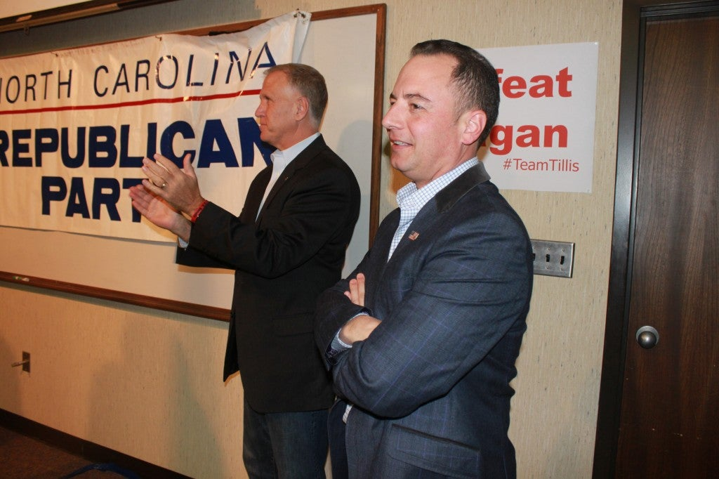 Thom Tillis and Reince Priebus campaigned together at a rally in Raleigh Saturday.