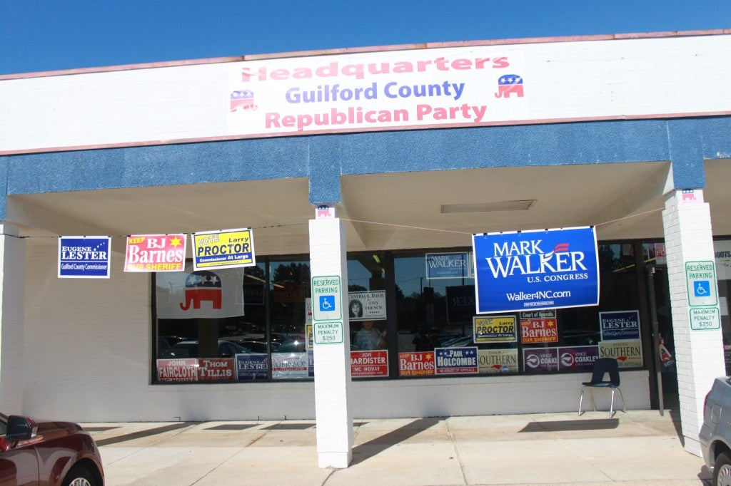 The Guilford County Republican Party headquarters is situated in a rundown commercial center in Hagan's hometown. Photo: Josh Siegel/The Daily Signal