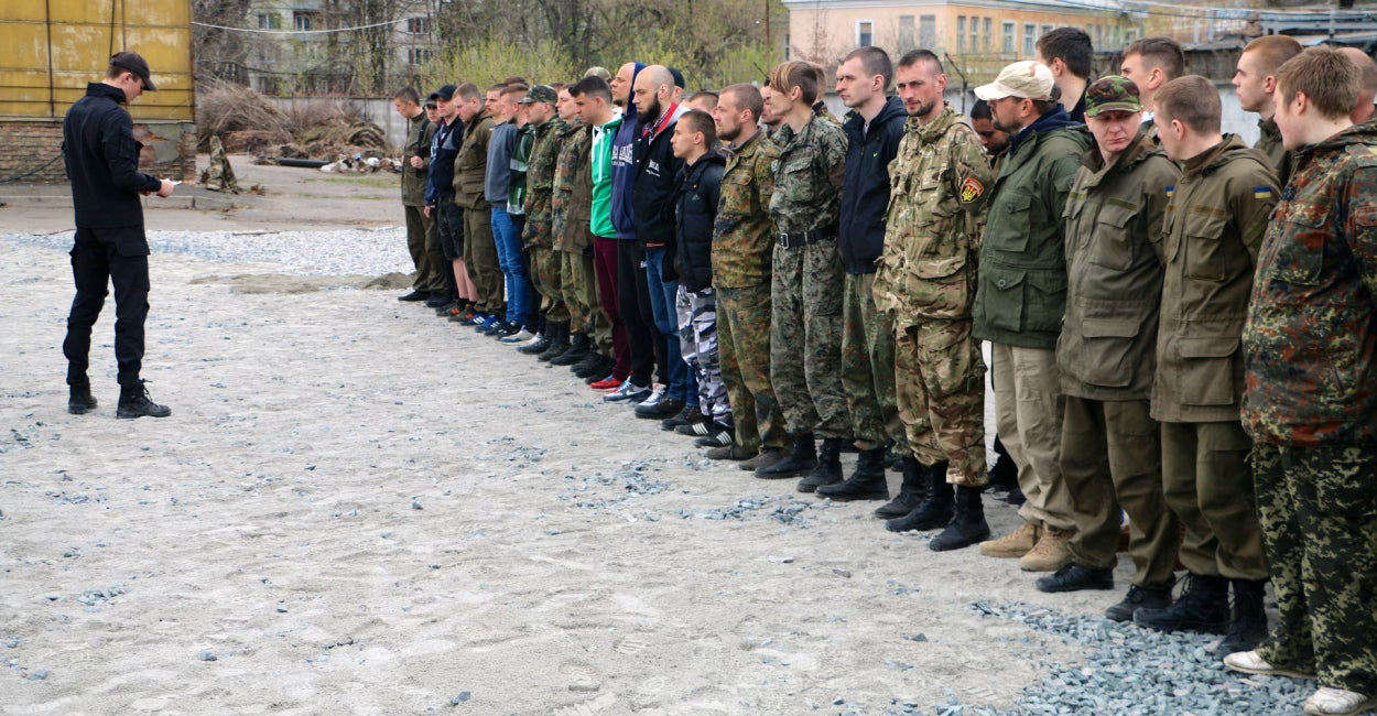 New Azov Regiment recruits at the Kyiv, Ukraine training camp (Photo: Nolan Peterson/The Daily Signal)