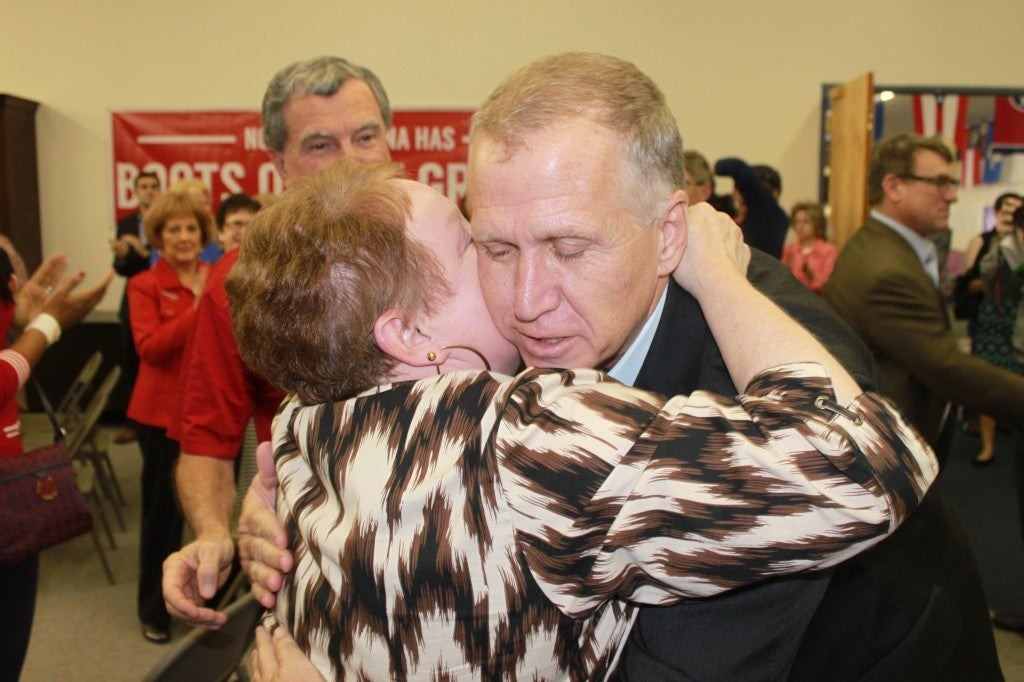 At the second rally in Greensboro, Tillis felt comfortable with familiar faces. Photo: Josh Siegel/The Daily Signal
