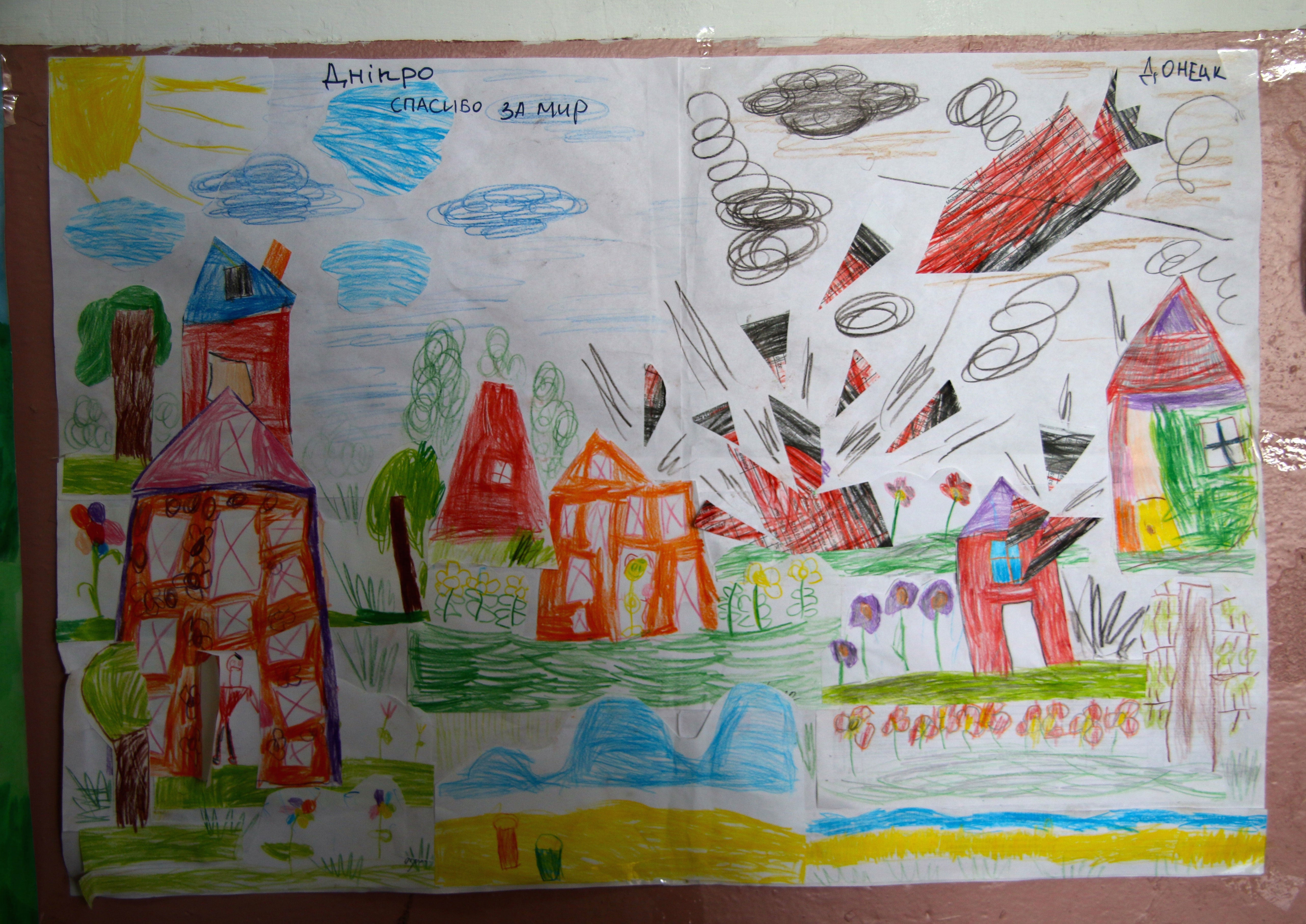 A child's drawing hangs in the hallway of a military hospital outside the Ukrainian city of Dnipro.