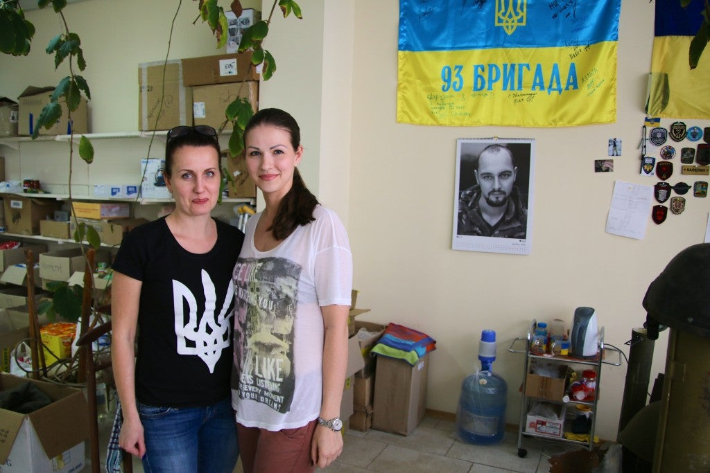 Inna Dubniak, 36 (left), and Julia Dimitrova—civilian volunteers at their office in Dnipropetrovsk (Photo: Nolan Peterson/The Daily Signal)