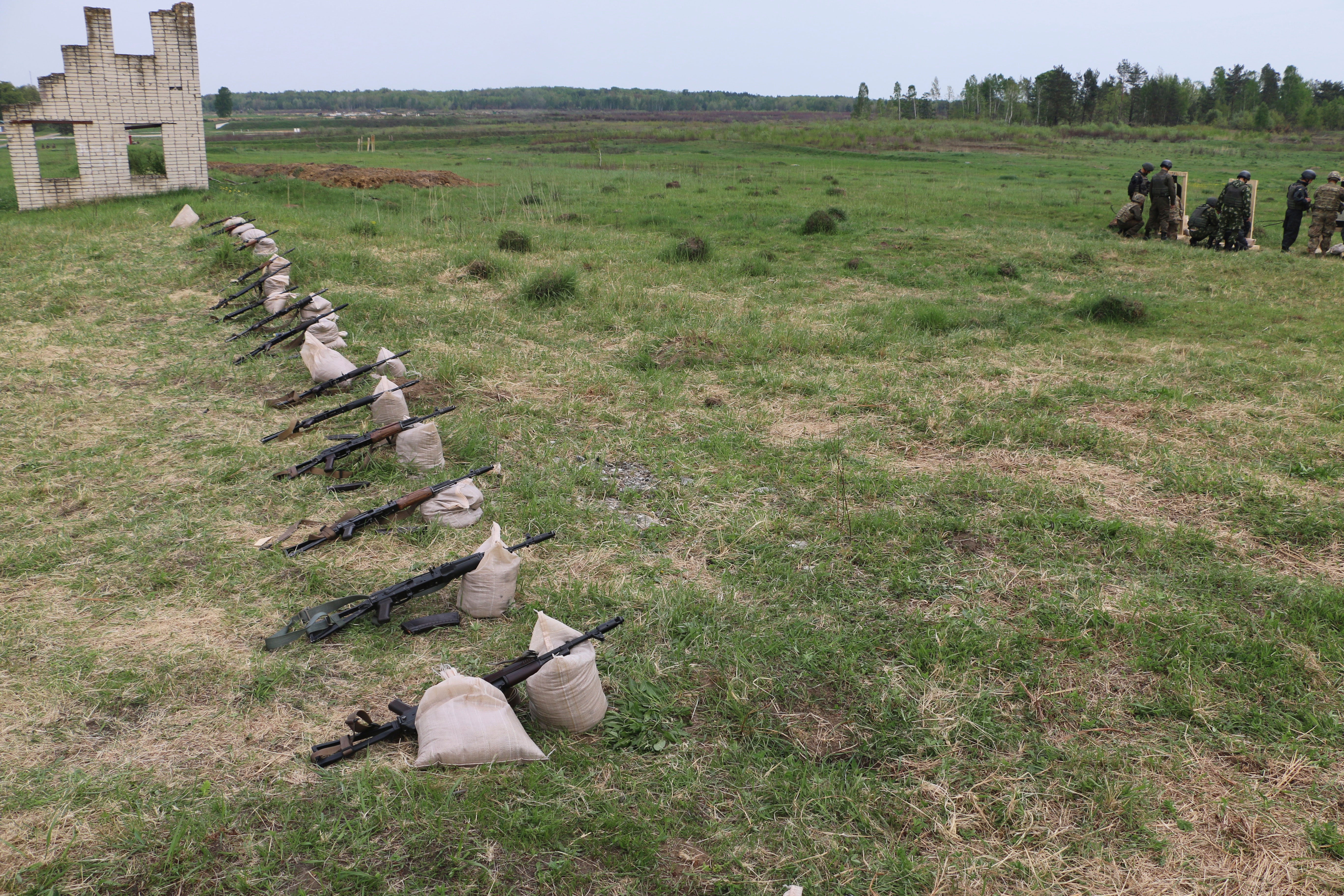 Kalashnikovs lined up on the firing range at the U.S. Army's training mission in western Ukraine.