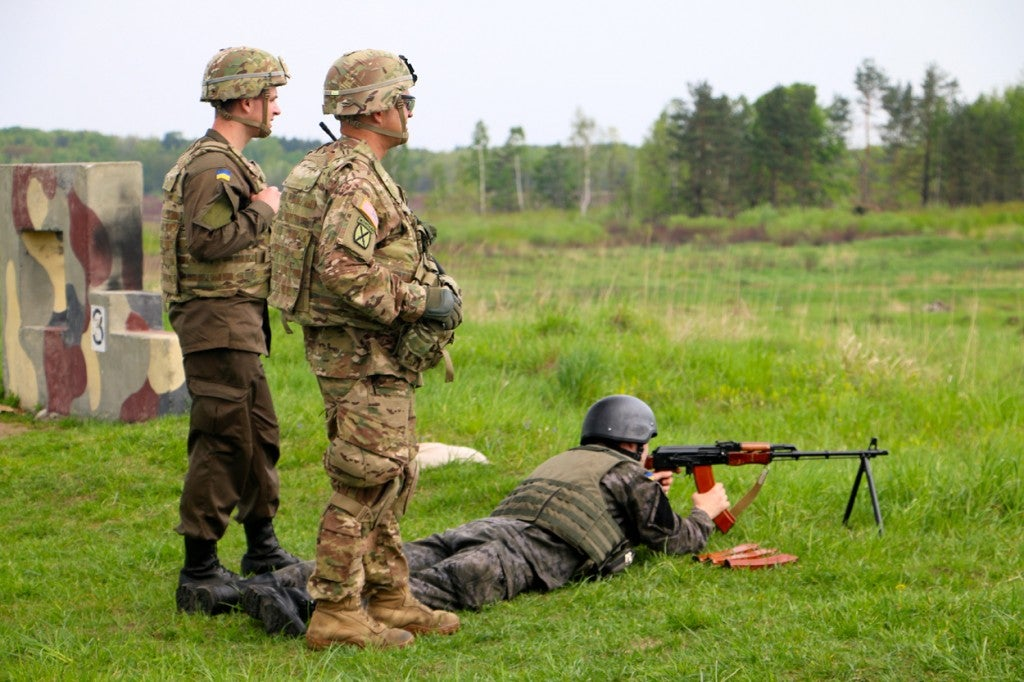 U.S. Army soldiers instruct the Ukrainian National Guard as part of Fearless Guardian, a military training exercise held in Yavoriv, Ukraine. (Photo: Nolan Peterson/The Daily Signal)