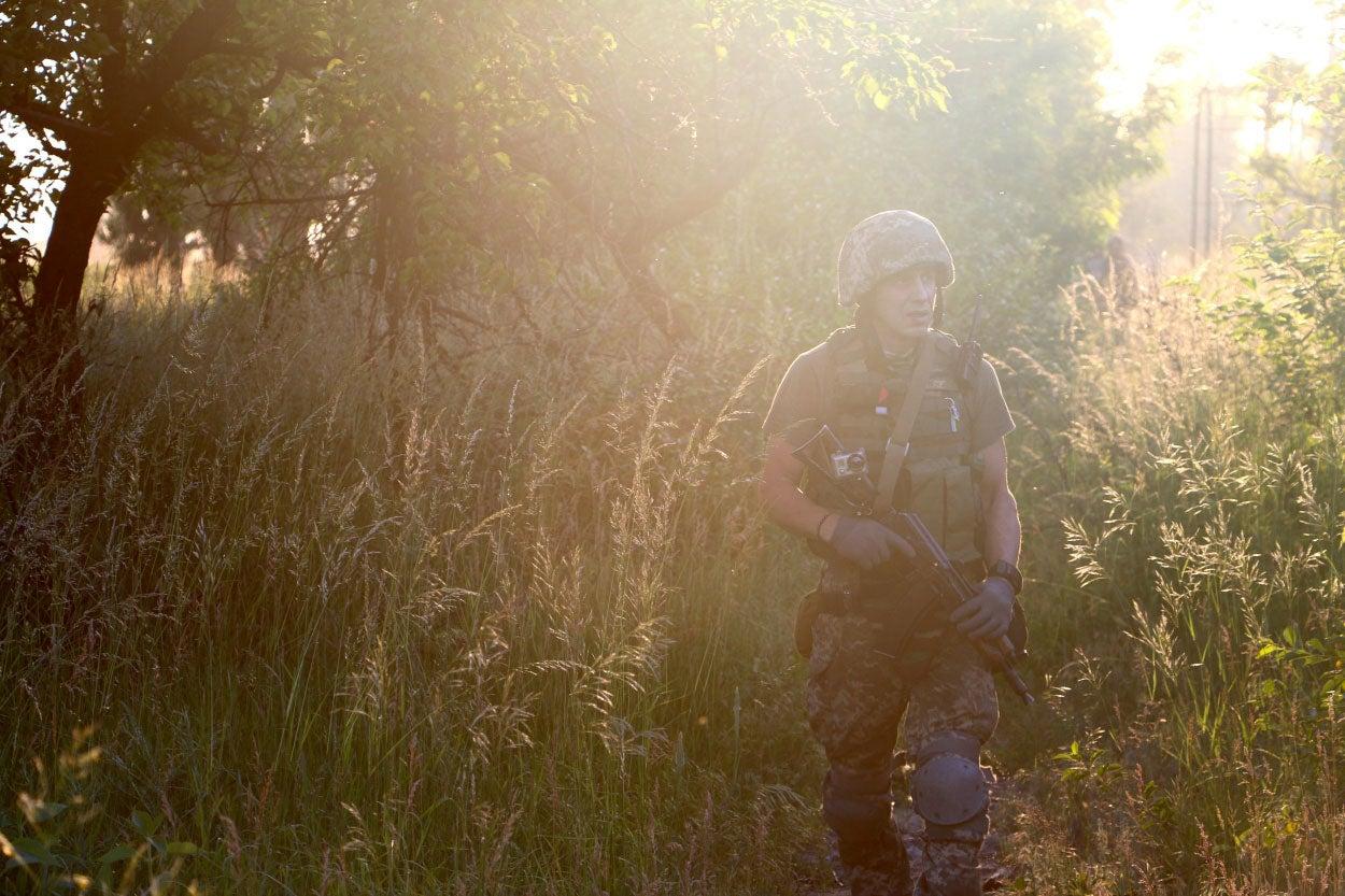 Konstantin Bernatovich on patrol in Pisky.