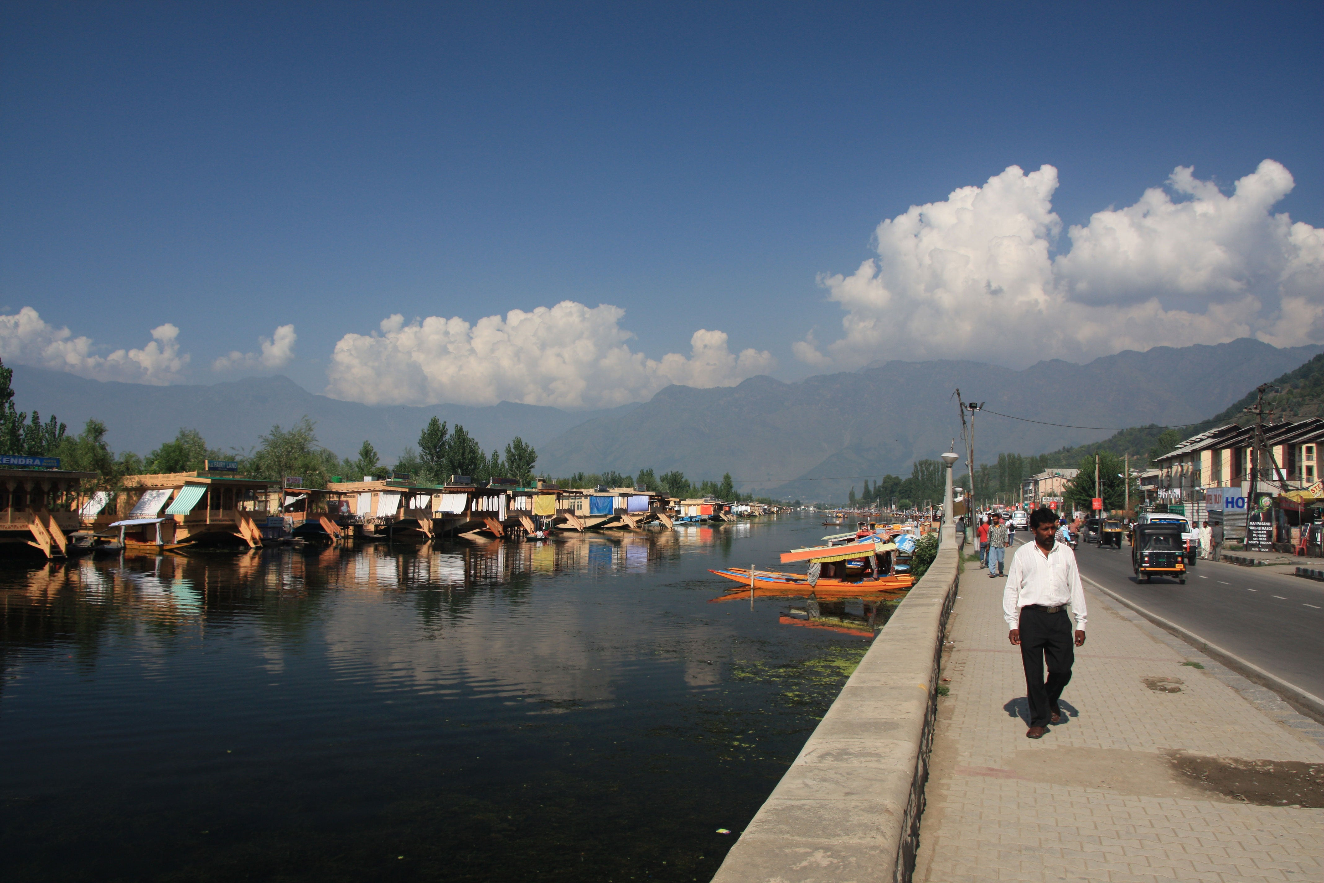 "Srinagar's ""Broadway"" boardwalk along Dal Lake."