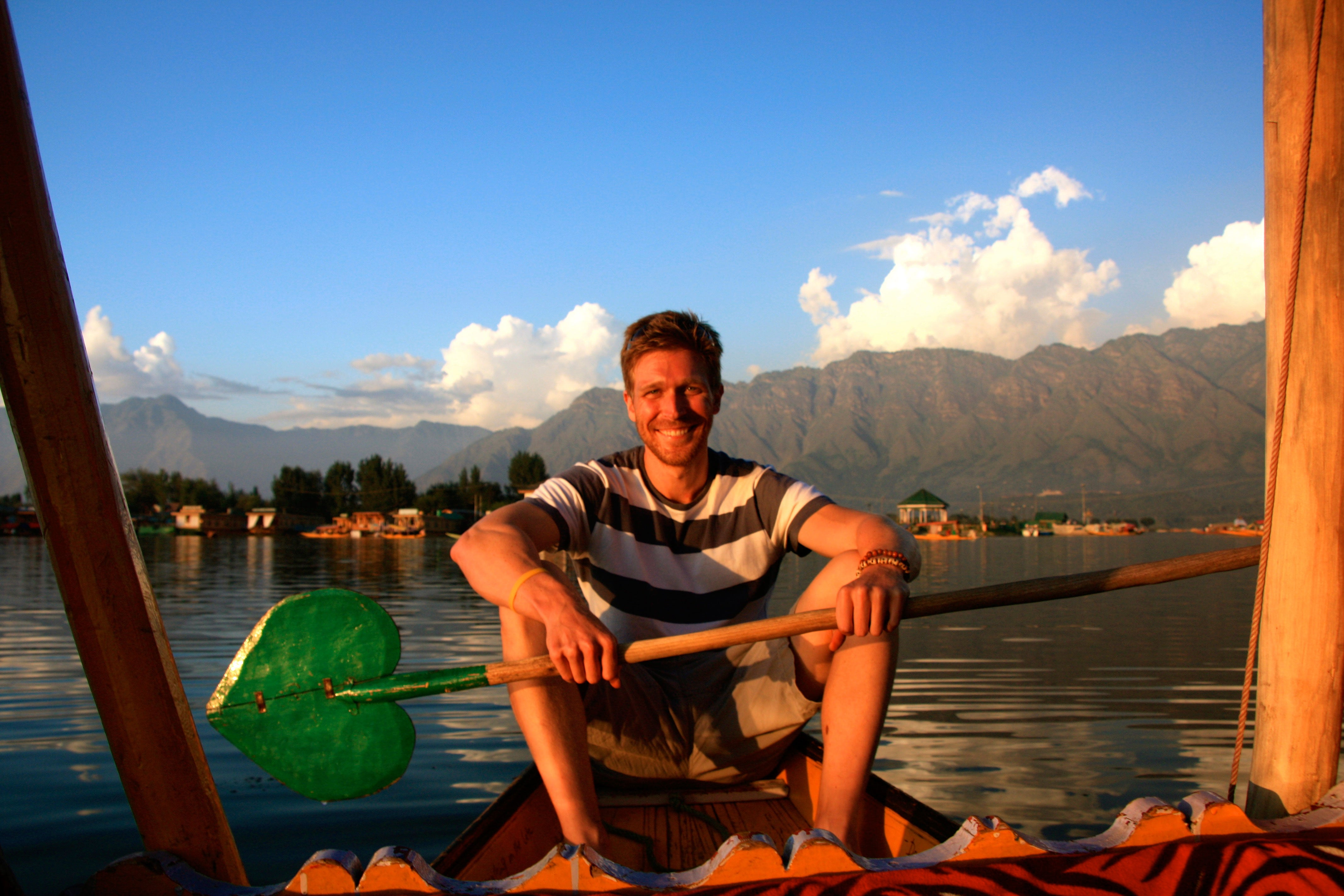 The author, Nolan Peterson, on a shikara on Dal Lake.