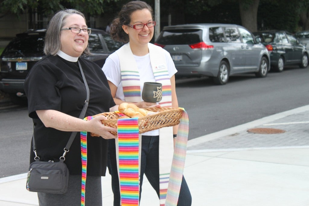 Proponents of same sex marriage were giving out communion to other advocates. (Photo: Jessi Rapelje/The Daily Signal)