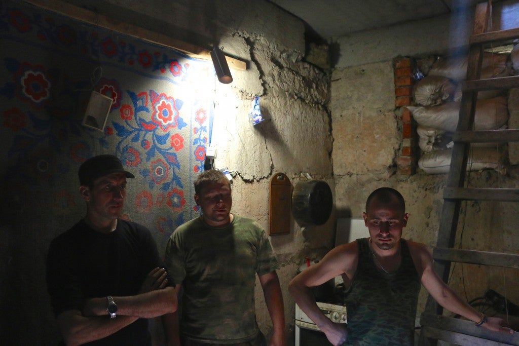 Ukrainian soldiers seek shelter underground from separatist artillery. (Photo: Nolan Peterson/The Daily Signal)