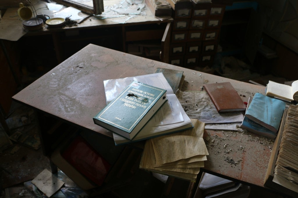 A destroyed library in Pisky. (Photo: Nolan Peterson/The Daily Signal)