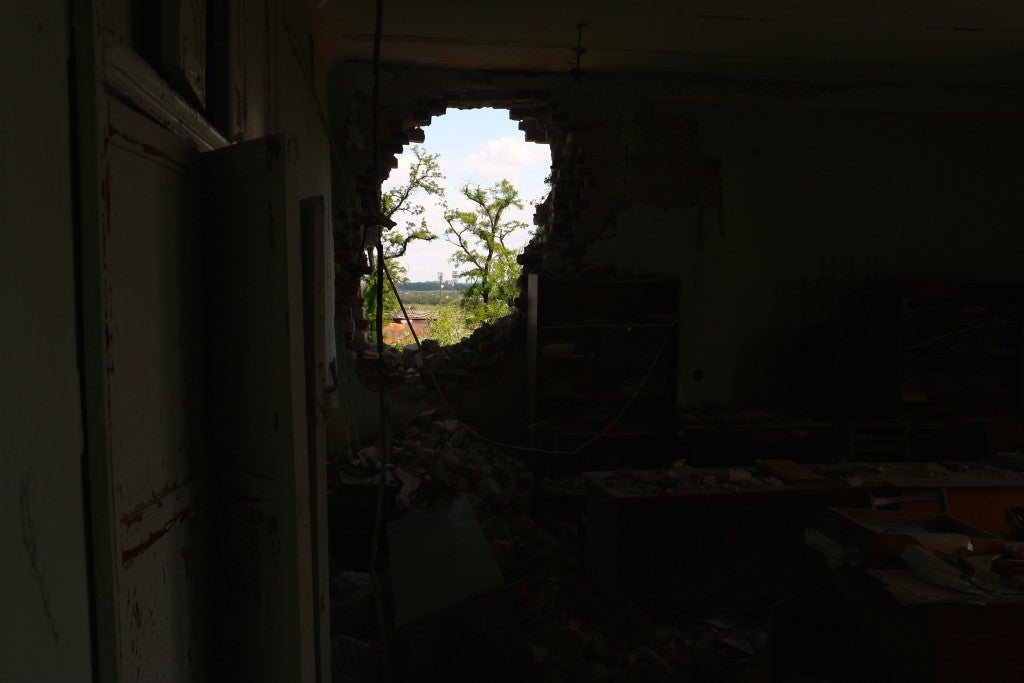 Most buildings in Pisky have been destroyed by artillery. (Photo: Nolan Peterson/The Daily Signal)