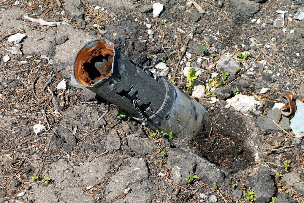 Impact wreckage of a Grad rocket. (Photo: Nolan Peterson/The Daily Signal)