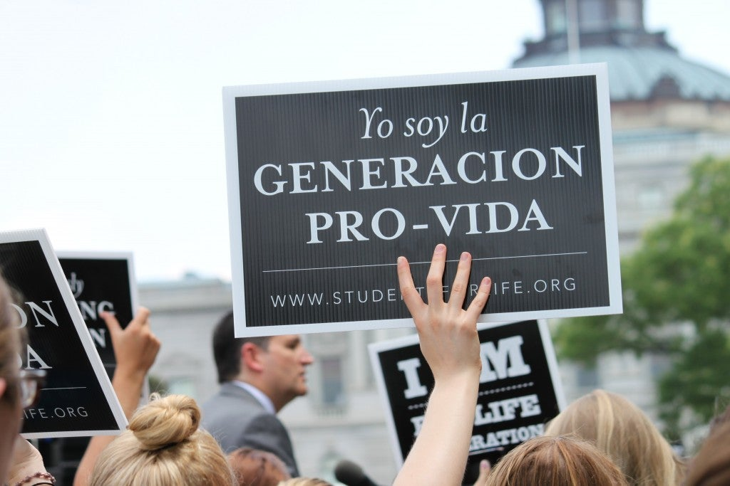"""Supporters at the rally yelled several chants, including """"We are the pro-life generation."""" (Photo: Samantha Reinis/The Daily Signal)"""
