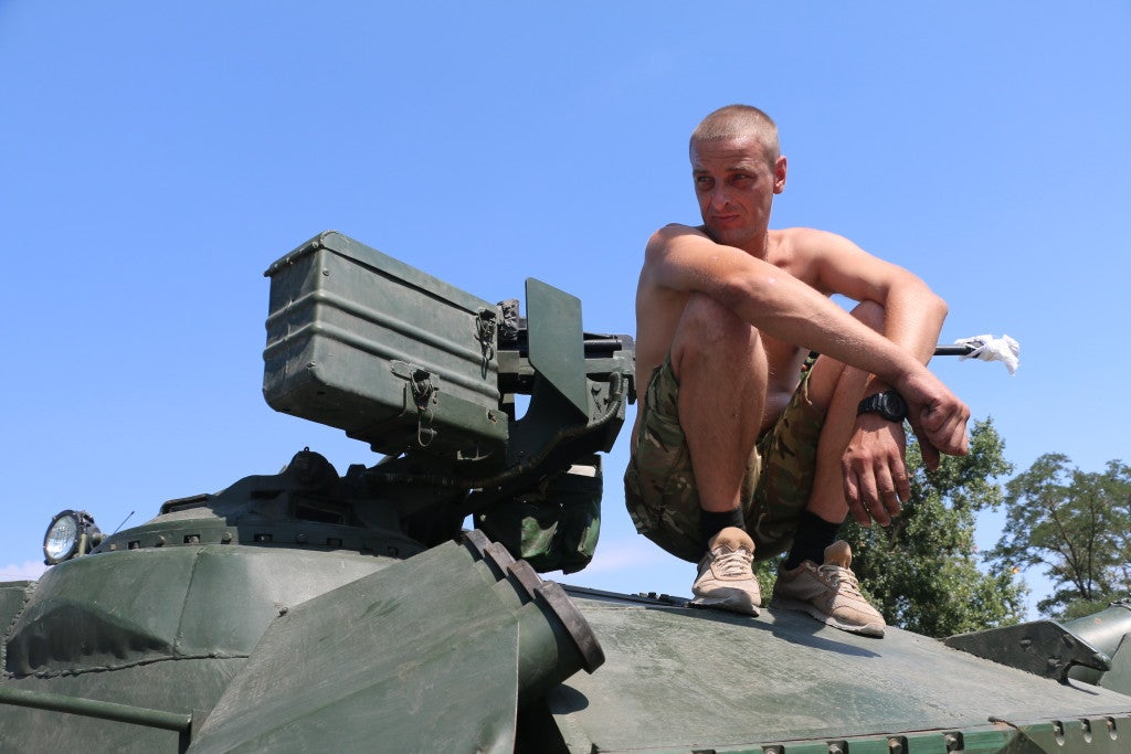The Azov Battalion's tanks formerly belonged to the Red Army. (Photo: Nolan Peterson/The Daily Signal)