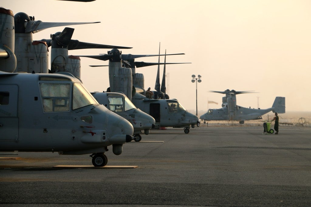U.S. Marine Corps MV-22s at a deployed location in support of Operation Inherent Resolve. (Photo: Nolan Peterson/The Daily Signal)