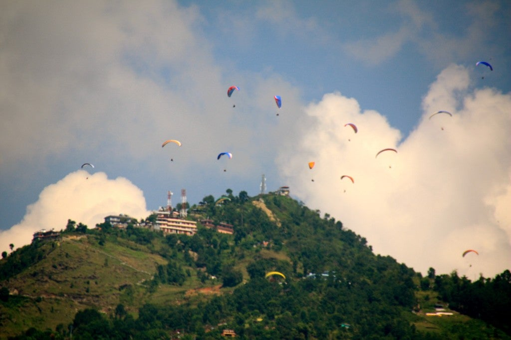 Paragliders in Pokhara. (Photo: Nolan Peterson/The Daily Signal)