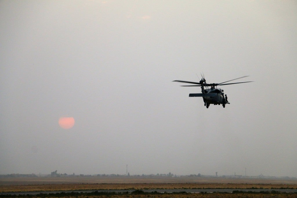 An Air Force HH-60G Pave Hawk helicopter over northern Iraq. (Photo: Nolan Peterson/The Daily Signal)