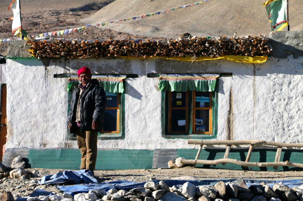 Tsering Tunduk outside his home on the Indian side of Pangong Lake. (Photo: Nolan Peterson/The Daily Signal)