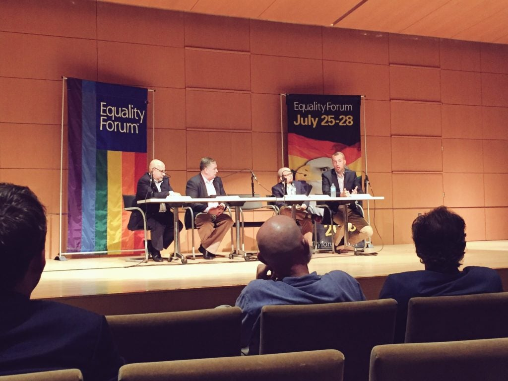 "Guests speak on the ""Future of the Movement"" panel on July 28, 2016 in Philadelphia, Pa. Sitting from left to right: Evan Wolfson, former president of Freedom to Marry, Kevin Jennings, executive director of the Arcus Foundation, Jay Brown, communications director for the Human Rights Campaign, and moderator Kevin Naff, editor and co-owner of the Washington Blade. (Photo: The Daily Signal)"