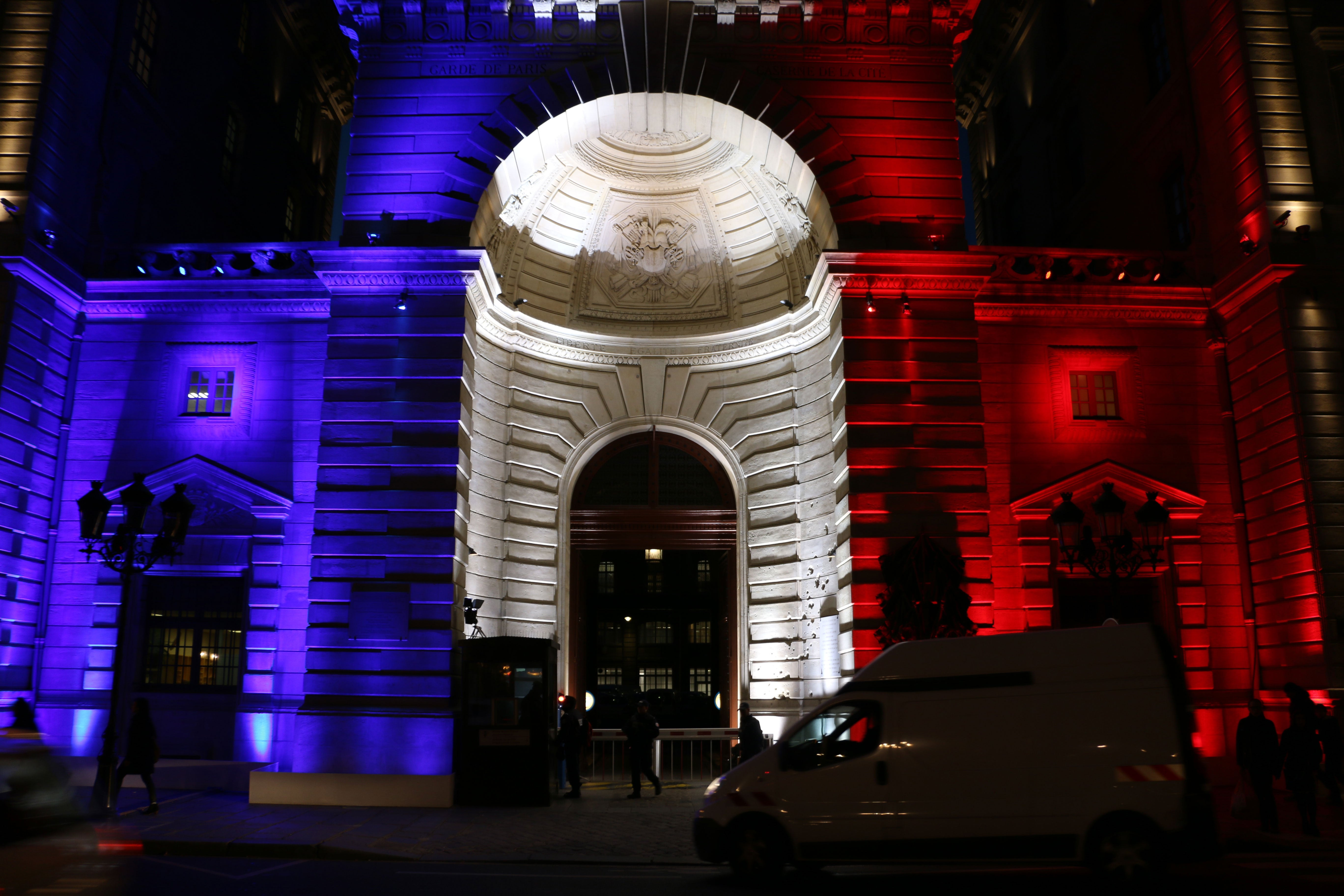 A building lit up in France's national colors in November 2015, days after a deadly terror attack. (Photo: Nolan Peterson/The Daily Signal)