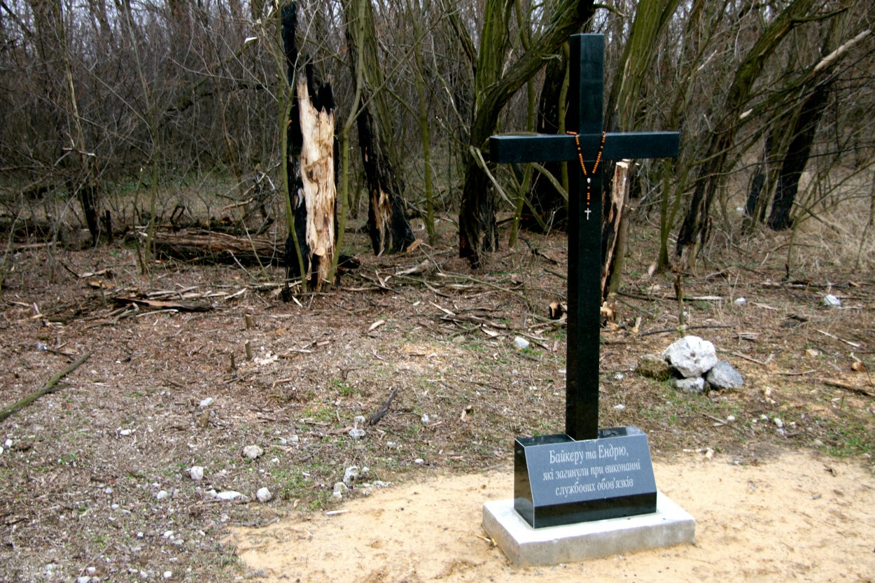A memorial to Ukrainian civilian volunteers killed in a separatist ambush last summer in no man's land outside Lobacheve.