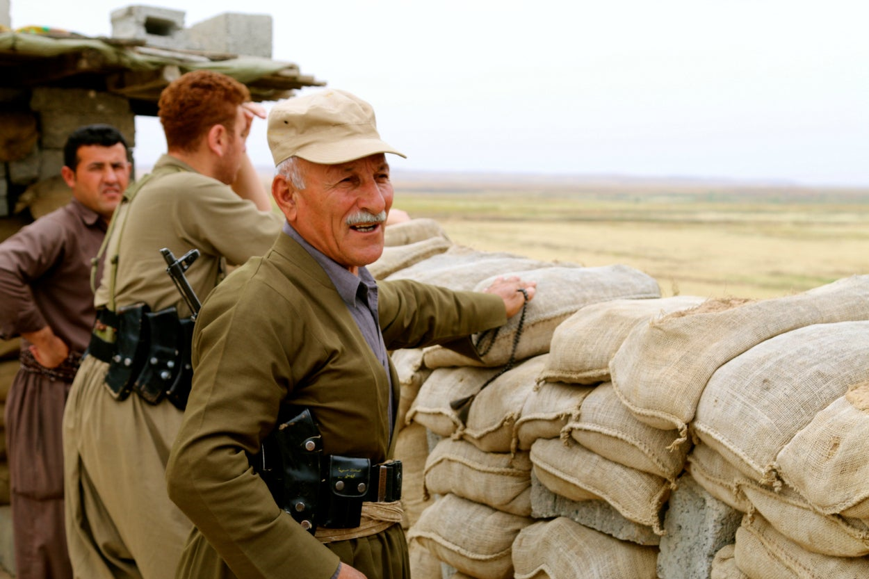 Many of the peshmerga soldiers are middle aged or older.