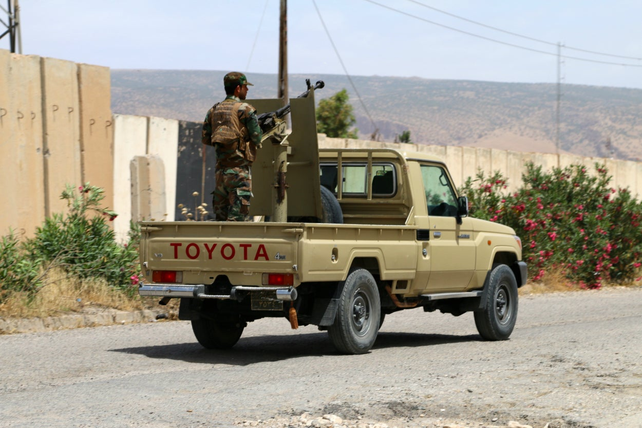 Kurdish peshmerga forces in Sinjar, Iraq.