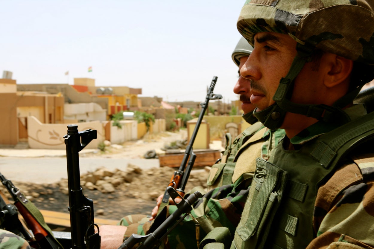 There are about 5,000 Kurdish peshmerga soldiers deployed to defend Sinjar from ISIS.