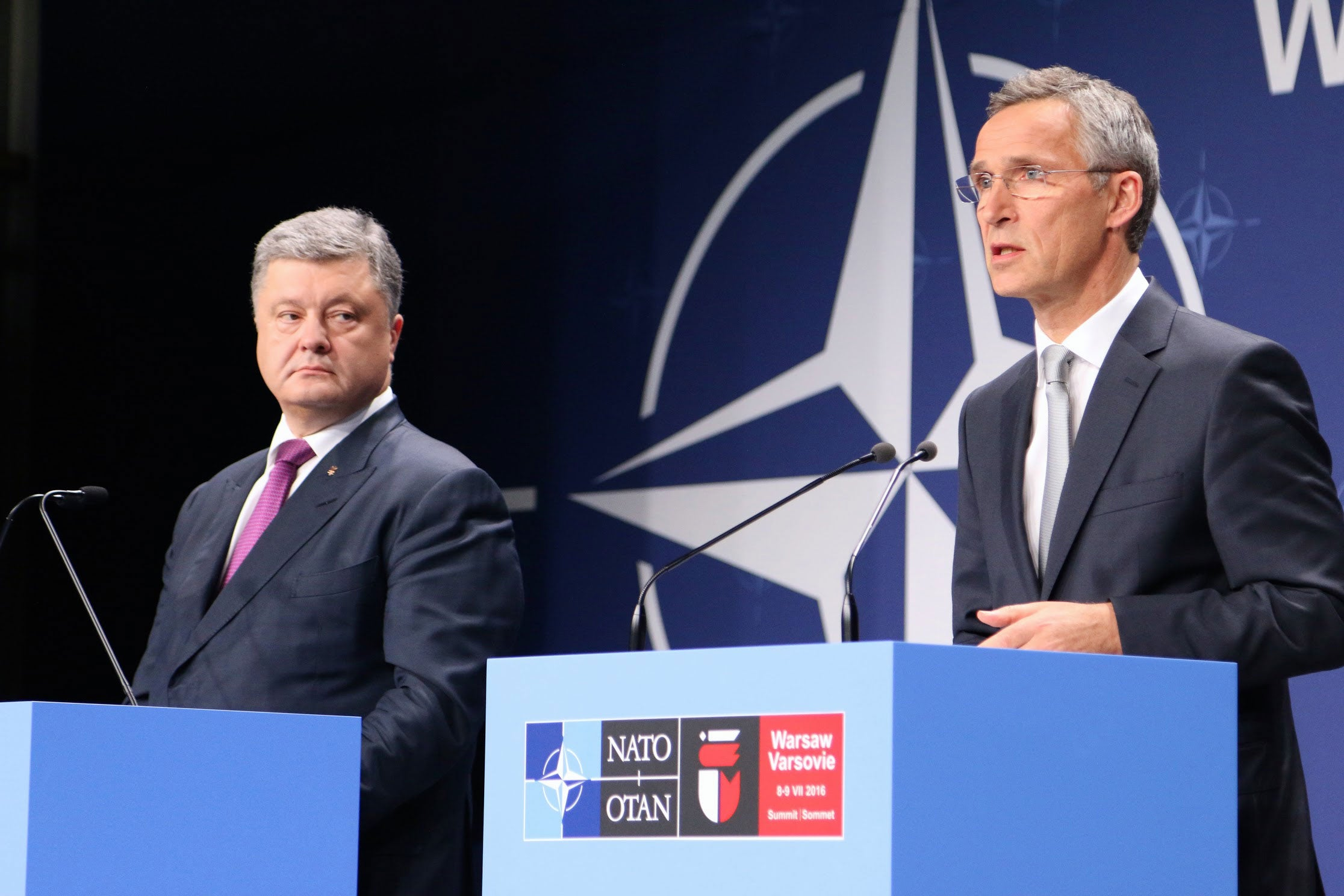 Ukrainian President Petro Poroshenko (left) speaks alongside NATO Secretary General Jens Stoltenberg at the July 2016 NATO summit in Warsaw, Poland. (Photos: Nolan Peterson/The Daily Signal)