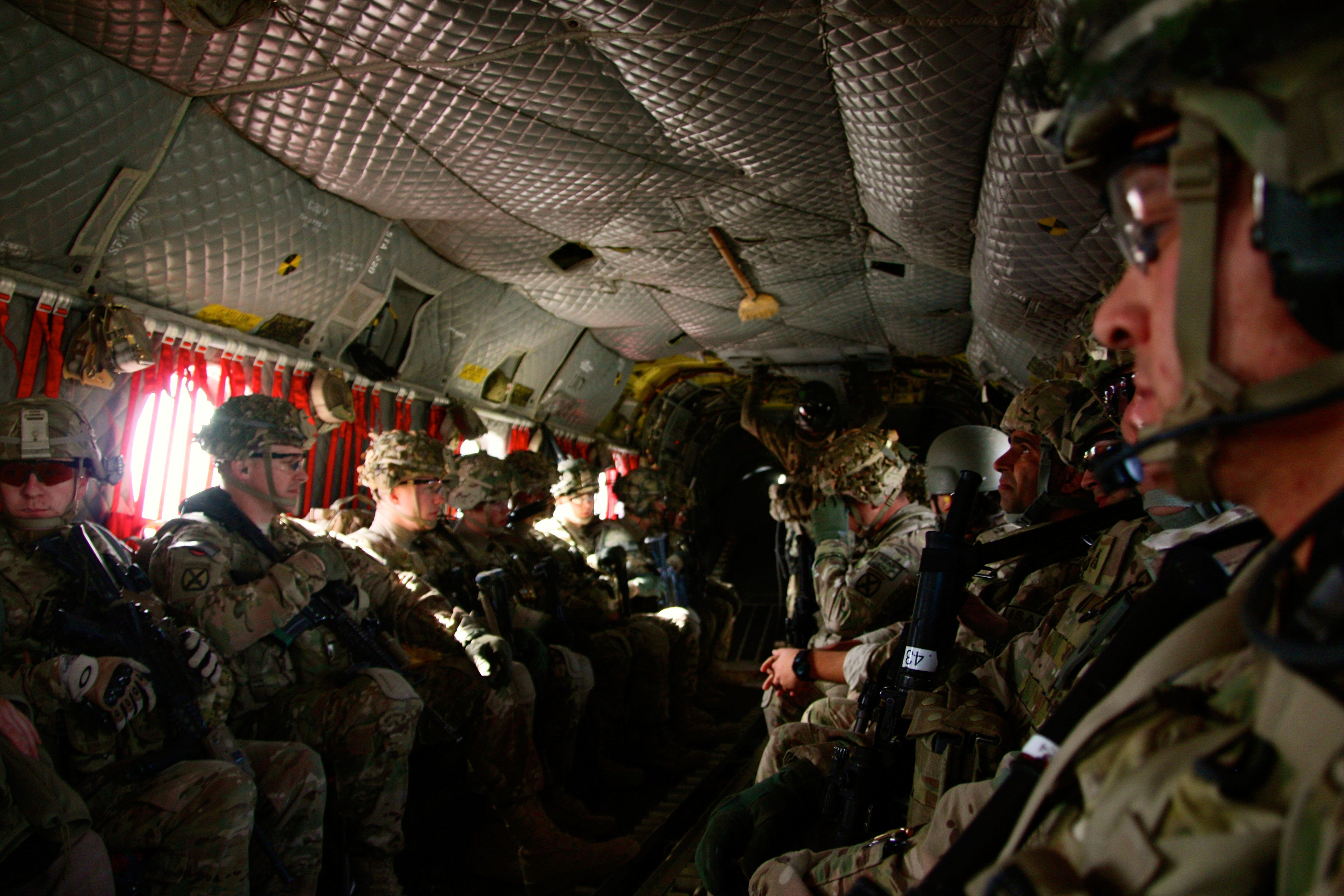 Inside a U.S. Army CH-47 Chinook helicopter in Afghanistan.