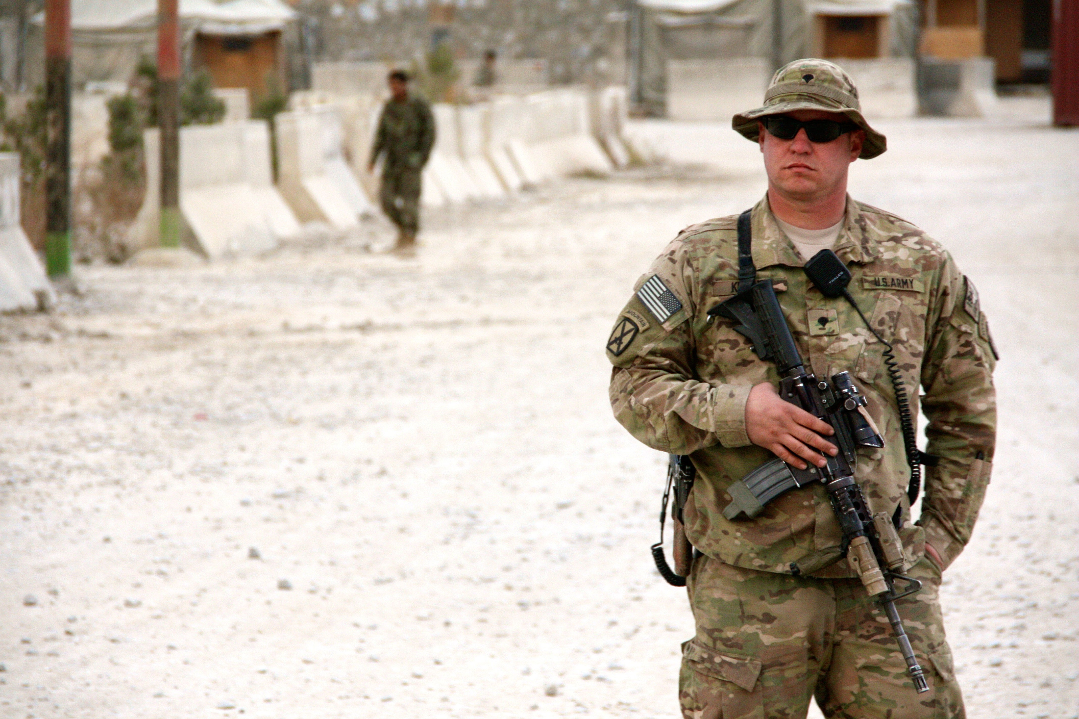 A U.S. Army soldier with an M16 variant called the M4 in Afghanistan.