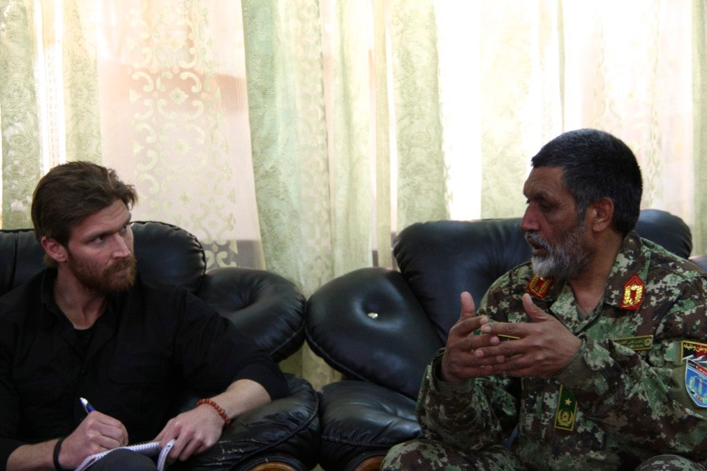 The author, Nolan Peterson, interviewing an Afghan National Army general at FOB Shank in 2013. (Photo: Nolan Peterson/The Daily Signal)