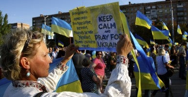 A pro-Ukraine rally in Mariupol prior to the Sept. 5, 2014 cease-fire. (Photo: Nolan Peterson/The Daily Signal)
