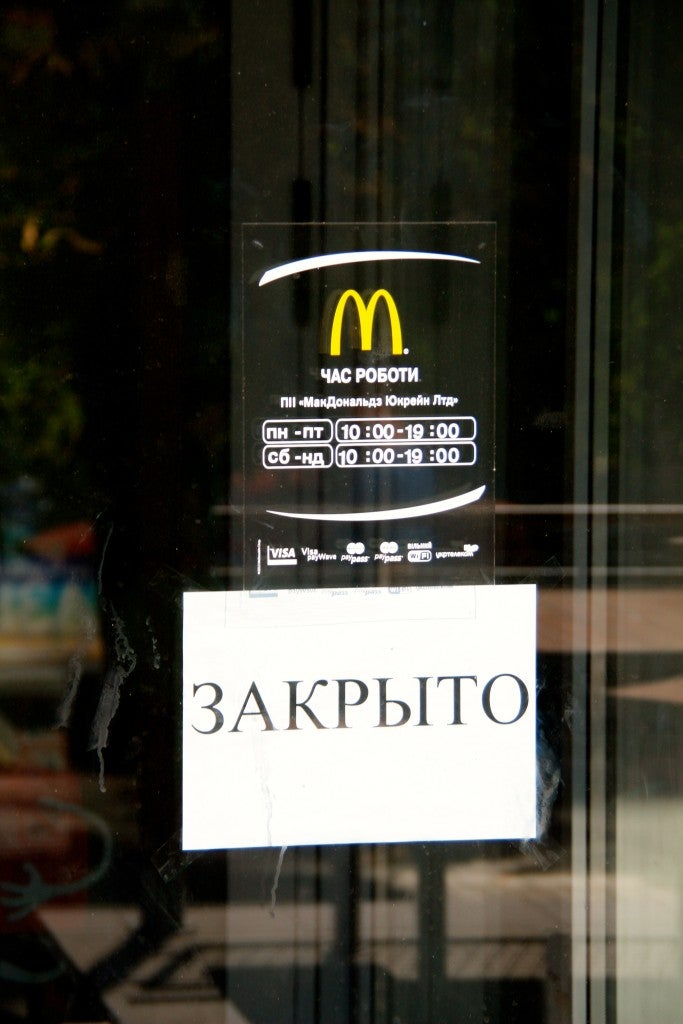 Residents in Maiupol, Ukraine want to bring back their McDonald's, which was shut down due to the war. (Photo: Nolan Peterson/The Daily Signal)