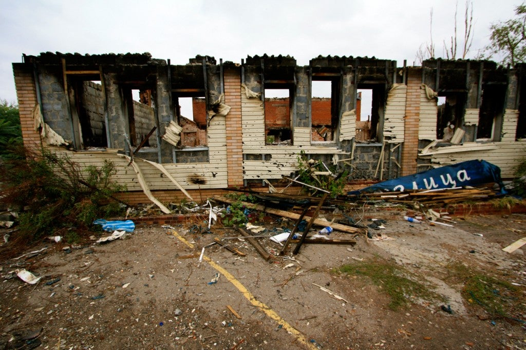 Damage from fighting outside Slavyansk, in eastern Ukraine. (Photo: Nolan Peterson/The Daily Signal)