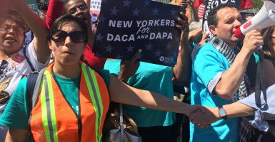 Supporters of President Obama's immigration programs, known as DACA and DAPA, called for the Supreme Court to let the actions stand. (Photo: Josh Siegel/The Daily Signal)