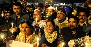 Candlelight vigil after  terror attack at Jantar Mantar on Jan. 5. (Photo: Hindustan Times/Newscom)