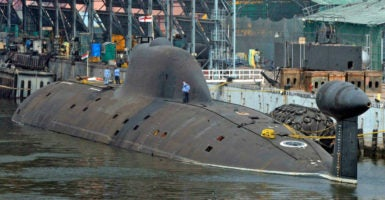 The INS Arihant is India's first indigenously built nuclear-powered ballistic missile submarine. (Photo: Stringer /India/Reuters/Newscom)