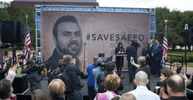 Before Pastor Saeed Abedini was released from prison by Iran in January, his wife, Naghmeh, spoke at a vigil for him. (Photo: Toby Jorrin/MCT/Newscom)